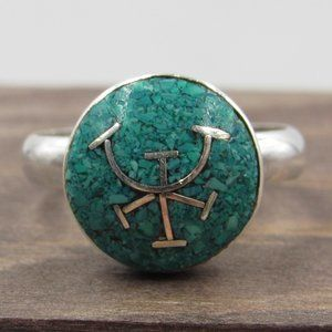 Size 6.25 Sterling Turquoise Chip Symbol Ring